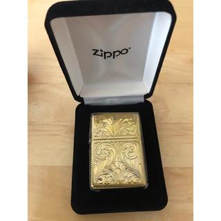 ジッポー(ZIPPO)の新品未使用 希少真鍮シルバーキング 5面手彫り ZIPPO(タバコグッズ)