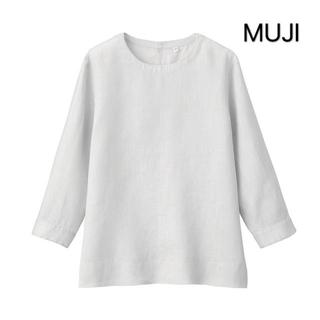 MUJI (無印良品) - 新品❣️MUJI オーガニックリネン洗いざらし七分袖ブラウス
