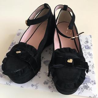 リズリサ(LIZ LISA)のLIZ LISA ラメスエードフリルシューズ black (ローファー/革靴)