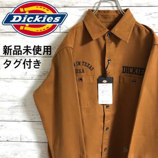 Dickies - 【大人気】ディッキーズ☆刺繍ビッグロゴ ブラウン 長袖ワークシャツ 新品未使用