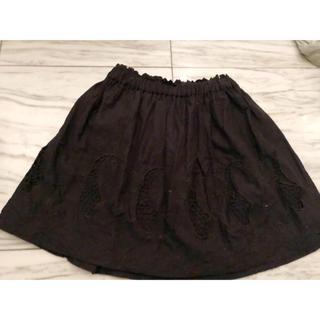 トゥモローランド(TOMORROWLAND)の黒 カットワーク コットン スカート(ひざ丈スカート)