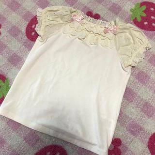 シャーリーテンプル(Shirley Temple)のシャーリーテンプル レースリボン カットソー Tシャツ 120(Tシャツ/カットソー)
