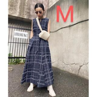 アメリヴィンテージ(Ameri VINTAGE)の新品タグ付 NEEDLE CHECK DRESS M アメリ(ロングワンピース/マキシワンピース)