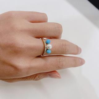 K18 パール トルコ ダイヤモンド リング