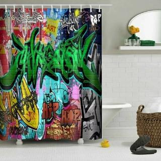 緑系●グラフィティ柄●バスルーム用カーテン【新品】 シャワーカーテン (タオル/バス用品)