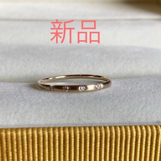 新品 K10YG ダイヤ華奢リング 10.5号