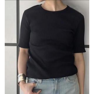 ドゥーズィエムクラス(DEUXIEME CLASSE)のAP studio ブラック リブ Tシャツ トップス(Tシャツ(半袖/袖なし))