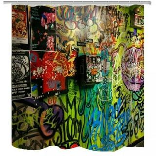 スプレーアート柄●バスルーム用カーテン【新品】 シャワーカーテン 路地裏 NY (カーテン)