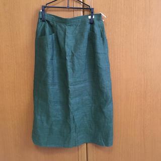 バーバリー(BURBERRY)のバーバリー❤️プチ値下げ即購入可能‼️11号 リネン 100%麻スカート  (ひざ丈スカート)
