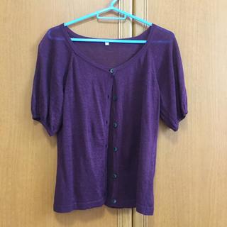 ムジルシリョウヒン(MUJI (無印良品))の無印❤️リネン 100%麻カーデ   M   赤紫 中美品(カーディガン)
