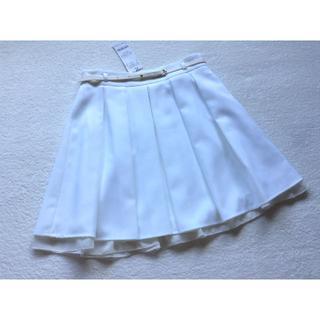 ロディスポット(LODISPOTTO)のロディスポット ベルト付き女の子タックスカート ホワイト(ミニスカート)
