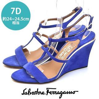 Salvatore Ferragamo - 新品❤フェラガモ ポイントメタル ウェッジサンダル 7D(約24-24.5