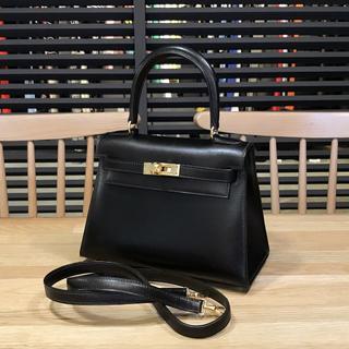 エルメス(Hermes)の良品 エルメス ミニケリー 黒 ゴールド金具 ボックスカーフ ブラック(ハンドバッグ)