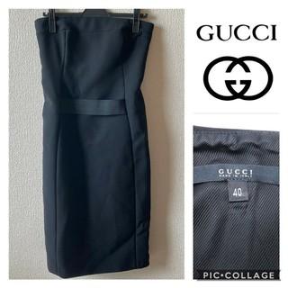 グッチ(Gucci)のGUCCI☆ペアトップ ワンピース 黒色(ひざ丈ワンピース)