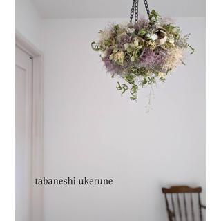 ふわふわのスモークツリーと淡い紫陽花の フライング リース ドライフラワー(ドライフラワー)