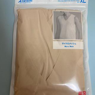 ユニクロ エアリズム メンズ XL マイクロメッシュVネック ベージュ