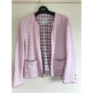 CHANEL - シャネル CHANEL ジャケット ピンク ツイード パール チェーン ピンク