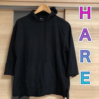 HARE - オーバーサイズ五分袖パーカーhare ブラック