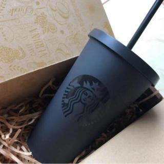 スターバックスコーヒー(Starbucks Coffee)のスターバックス ストロー付きコールドカップタンブラー マットブラック ボトル(タンブラー)