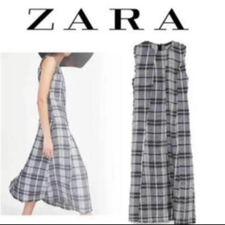 ザラ(ZARA)のZARA リネンチェックワンピース(ロングワンピース/マキシワンピース)