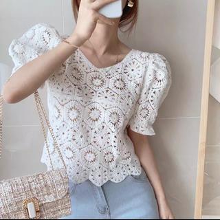 ディーホリック(dholic)の当日発送可能❤韓国ファッションかぎ編みサマーニットホワイト(ニット/セーター)