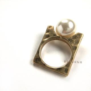 import pearl ring/大粒パールのヴィンテージ風リング/スクエア型