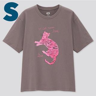 ユニクロ(UNIQLO)のS UNIQLO x アンディ・ウォーホル 猫 Tシャツ グレー(Tシャツ(半袖/袖なし))