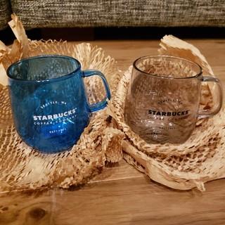 スターバックスコーヒー(Starbucks Coffee)のスターバックス 耐熱グラスマググレー 耐熱グラスマグネイビー 2個セット(グラス/カップ)