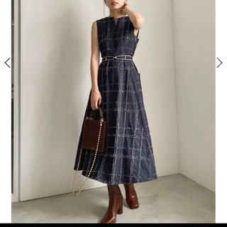 アメリヴィンテージ(Ameri VINTAGE)のNEEDLE CHECK DRESS Ameri vintage(ロングワンピース/マキシワンピース)