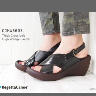 リゲッタカヌー(Regetta Canoe)の【RegettaCanoe】クロスベルトバックストラップウェッジソールサンダル(サンダル)