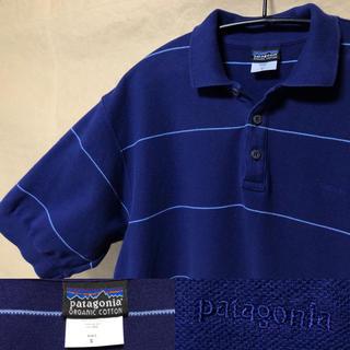 パタゴニア(patagonia)のパタゴニア ポロシャツ S ボーダー ネイビー(ポロシャツ)