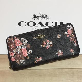 コーチ(COACH)の新品 [COACH コーチ] 長財布 ピンクの花柄 ブラウン(財布)