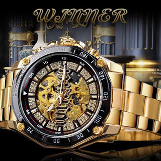 新品 送料無料 3D ゴールド フルスケルトン 自動巻き 機械式 腕時計 (腕時計(デジタル))