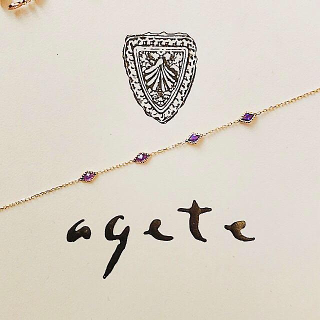 agete(アガット)の【ご専用】未使用 agete K10 ブレスレット アメジスト 販売証明書アリ レディースのアクセサリー(ブレスレット/バングル)の商品写真