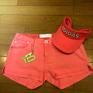 adidas - アディダス ゴルフウェア ショートパンツ ピンク オレンジ レディース 未着用