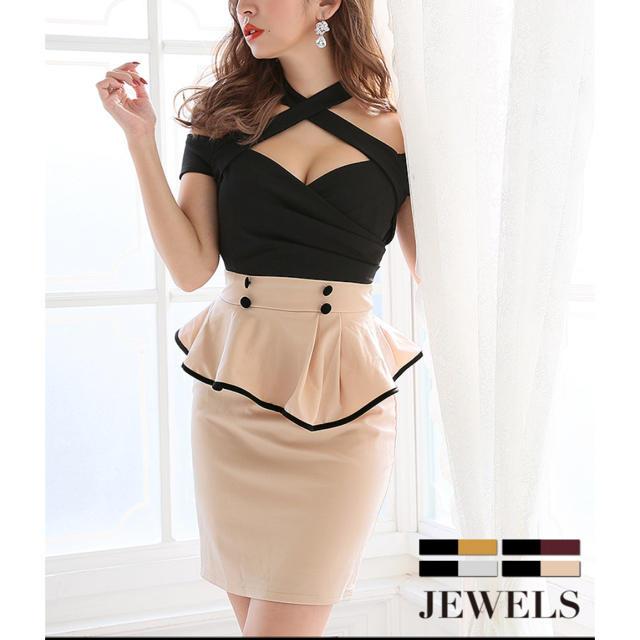 JEWELS(ジュエルズ)のジュエルズ ペプラムドレス ベージュ レディースのフォーマル/ドレス(ミニドレス)の商品写真