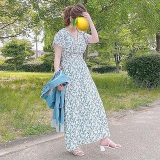 FRAY I.D - 新品 ミントグリーン シャーリング マキシワンピース Vネック シフォン