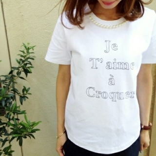 ルクールブラン(le.coeur blanc)のle.coeur blanc パール付 Tシャツ(Tシャツ(半袖/袖なし))