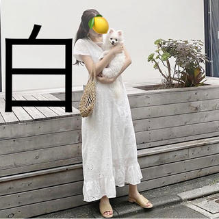 dholic - 新品♡白 コットンレース Vネック 花柄 マキシワンピース