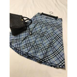 バーバリー(BURBERRY)の美品 バーバリー ロンドン ツイード スカート  チェック ブルー 入学 入園(ひざ丈スカート)