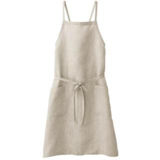 MUJI (無印良品) - 新品 無印良品  麻平織 肩クロスエプロン 身丈約90cm