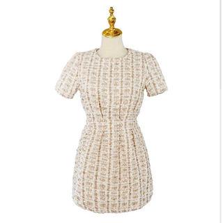 bibiy tweed tack dress - gold -♡(ミニワンピース)