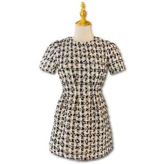 bibiy tweed tack dress - navy -♡(ひざ丈ワンピース)