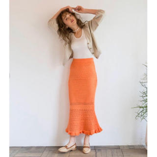 SeaRoomlynn - searoomlynn シールームリン クロシェマーメイドニットスカートオレンジ