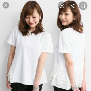 アーバンリサーチロッソ(URBAN RESEARCH ROSSO)のROSSO裾バックレースカットソー半袖Tシャツ(Tシャツ(半袖/袖なし))