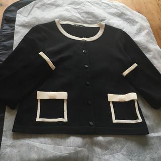 ルネ(René)の黒×白バイカラーカーディガンジャケット(カーディガン)