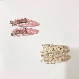 プティマイン(petit main)のギンガムチェック リボン ヘアピン(ファッション雑貨)
