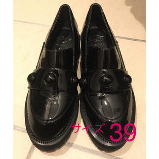 No. 21 - ローファー エナメル 黒ブラック レディース 大きいサイズ 39(25 センチ)