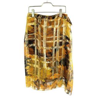 ドリスヴァンノッテン(DRIES VAN NOTEN)の最終値下げ 新品 シルク ボタニカル柄レイヤードスカート(ロングスカート)