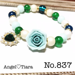 大特価♡グリーン薔薇コラボ天然石ブレスレット(ブレスレット/バングル)